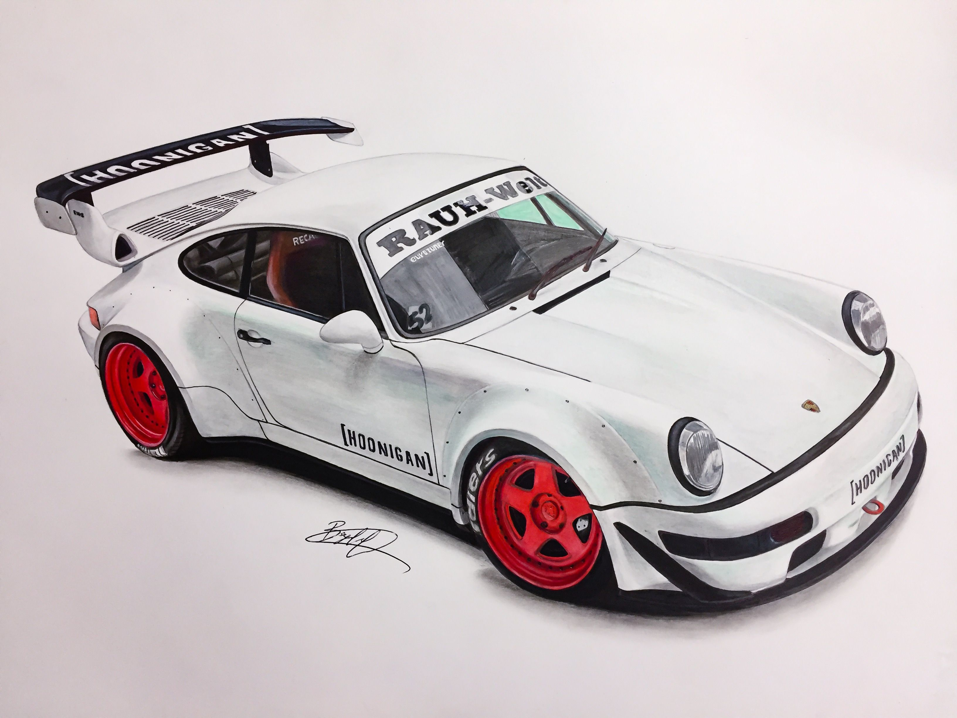 Porsche Rwb Hoonigan Brian Scotto Drawing Supercar By Filo