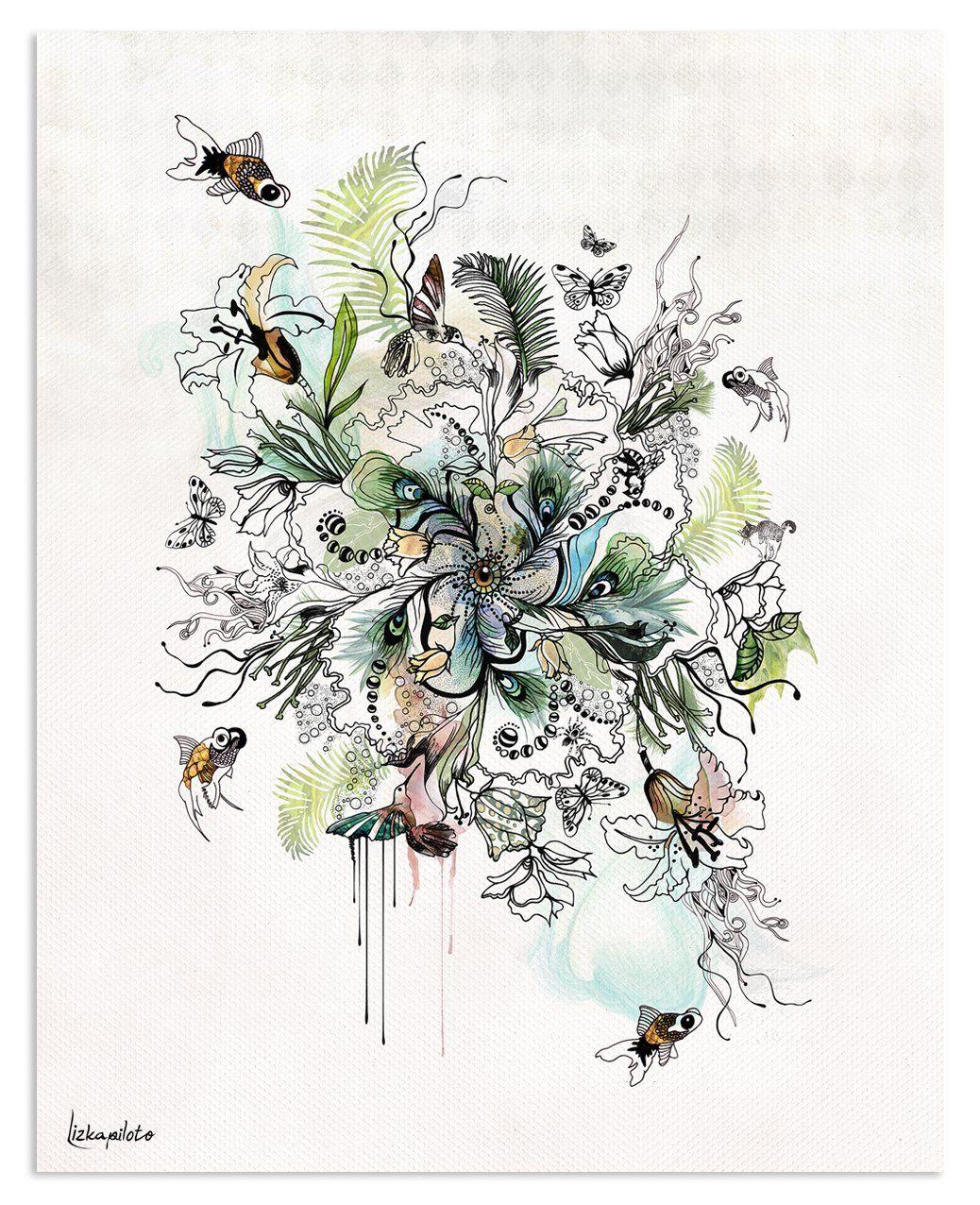 Seaweed Painting - Liz Kapiloto Art & Design - beautifully, detailed abstract art print , boho art with fish, flowers and plants #bohoart #greenart #turquoiseart #turquoise #painting #illustration #artforsale #artist #fishart #inkart #painting #lizkapiloto
