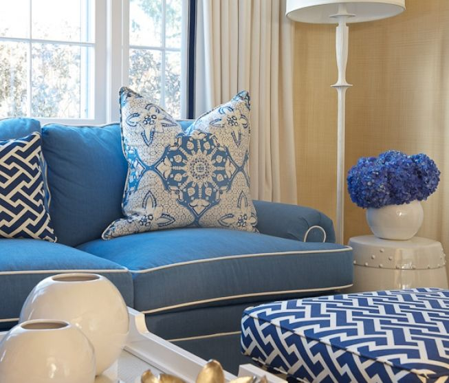 Kerry Hanson Design Blue Couch W White Piping Geometric Print Fabric Upholstered Ottoman Blue Sofa Living Blue Living Room Blue Sofa