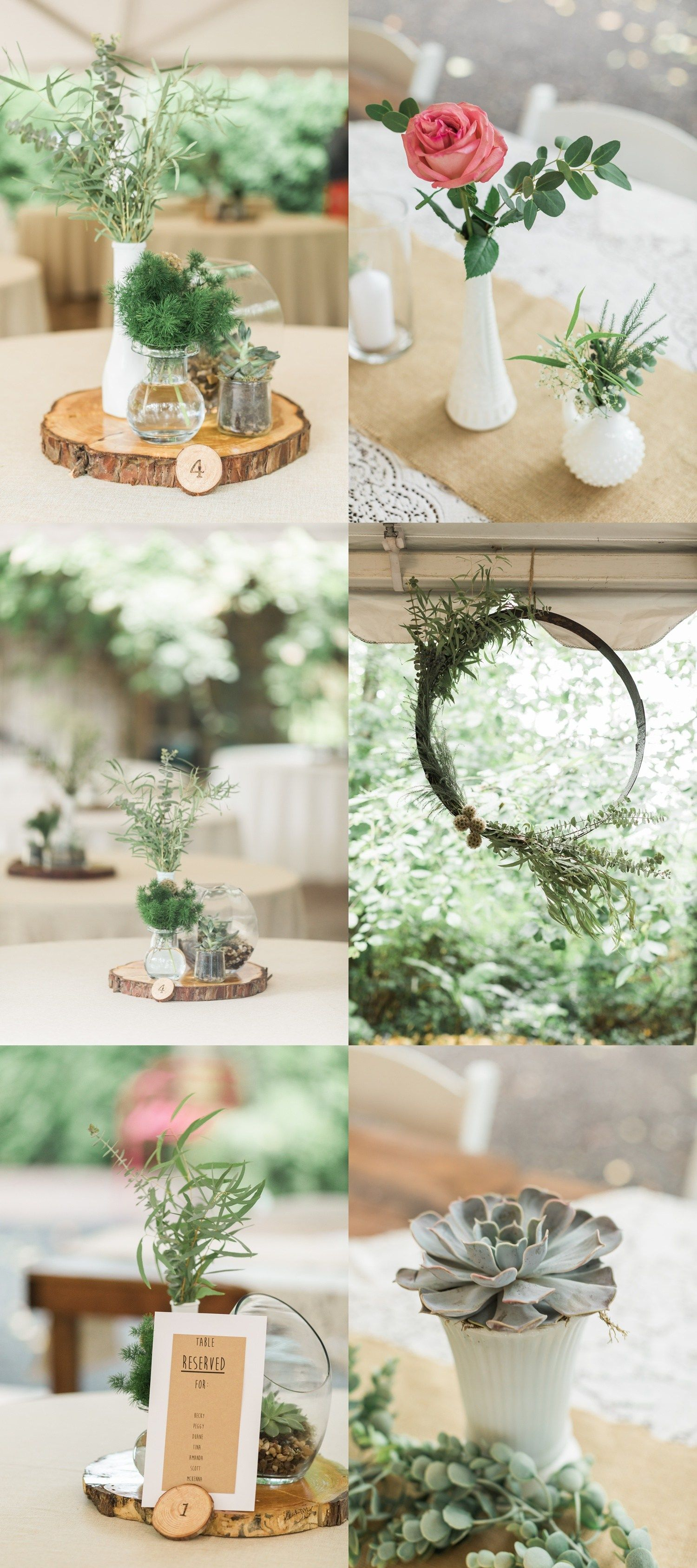 Beautiful rustic decor and centerpieces for a summer
