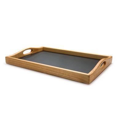 Tablett Kirschbaumholz mit Linoleumfläche | Gedeckter Tisch
