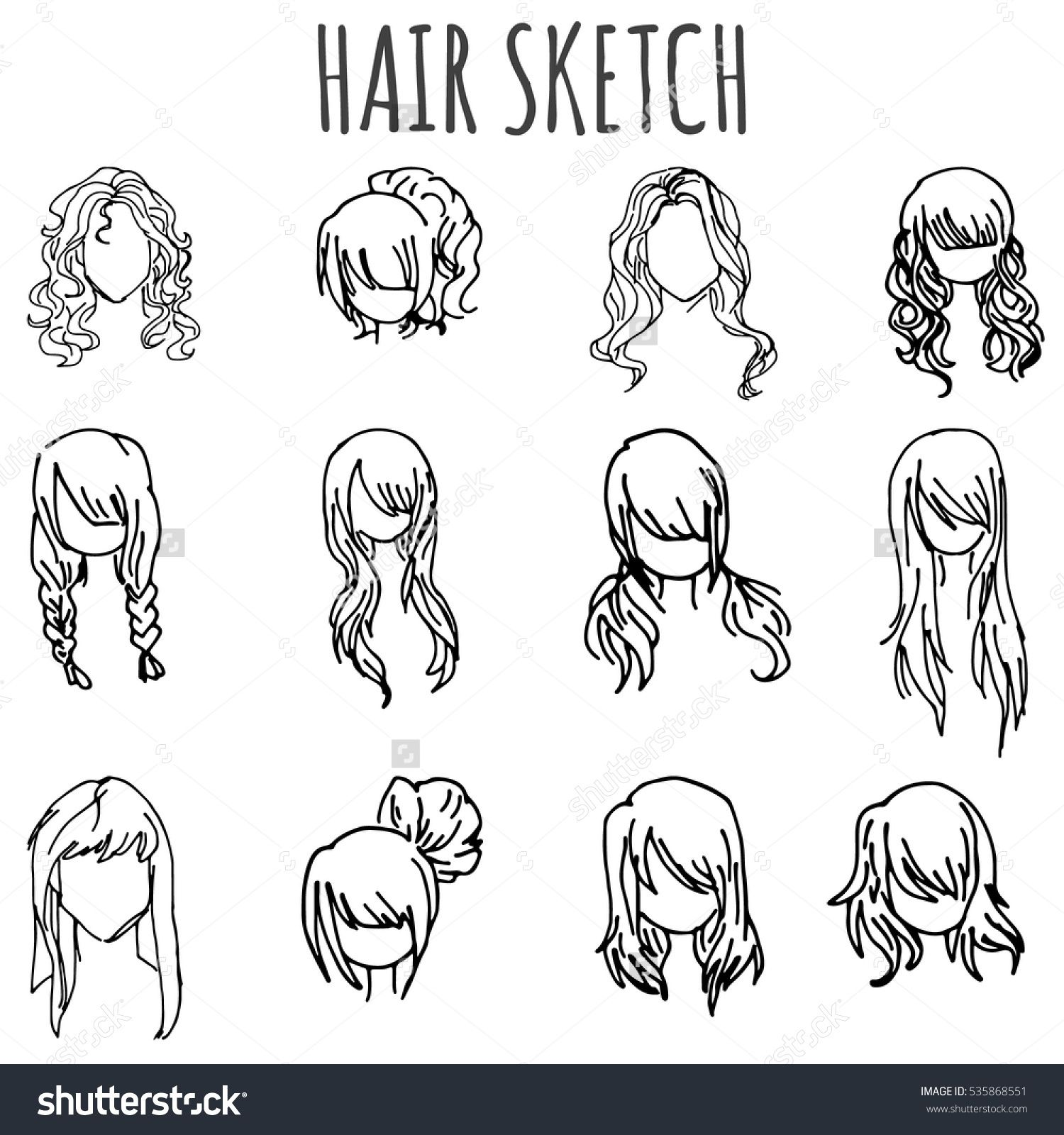 Set Of Vector Sketched Different Female Hairstyle In Doodle Style How To Draw Hair Hair Sketch Easy Doodle Art