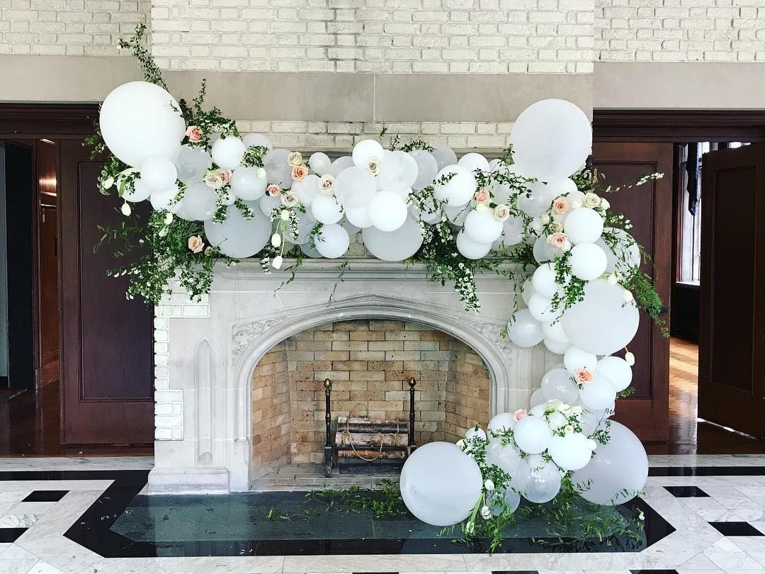 Balloons And Flowers For Wedding Backdrop White Balloons Roses And Balloons Old Forest Farm O Wedding Balloon Decorations Wedding Balloons White Balloons