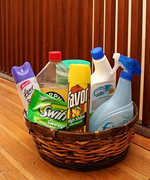 Home Gift Basket Ideas: Gift Basket Ideas-new Home. A Few Cleaning Clothes Spread