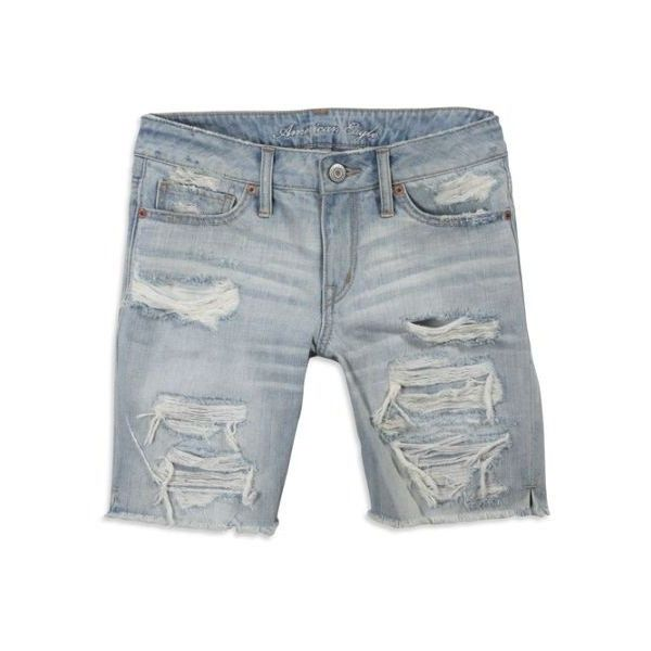 Women's AE Destroyed Boy Fit Bermuda Shorts (Light Crumple) (€26) ❤ liked on Polyvore featuring shorts, bottoms, jeans, pants, capris, clothing & accessories, ripped denim shorts, destroyed denim shorts, distressed shorts and ripped jean shorts