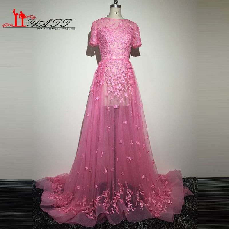 >> Click to Buy << Real Picture 2016 Sexy See Through Short Sleeves Hot Pink Appliques Lace Elegance Arabic Style Evening Prom Dresses Dress Liyatt #Affiliate