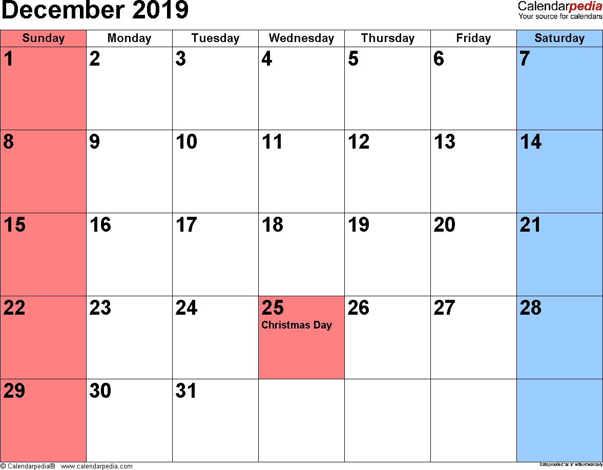 December 2019 Calendar Word Calendar 2019 Template Calendar Printables Calendar Word