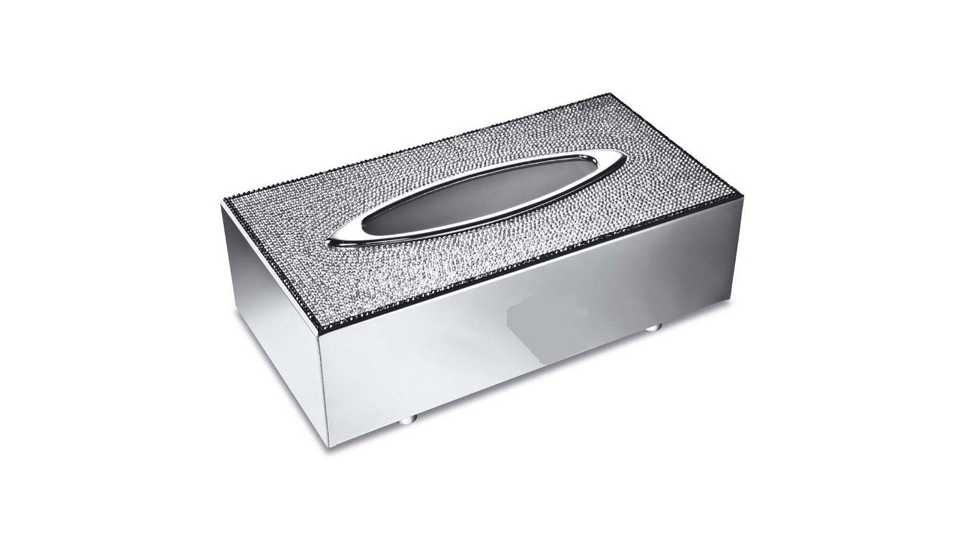 Porta lenço de papel cromado com cristais Swarovski - Chrome Tissue ...