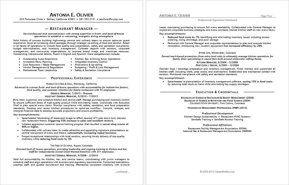 Sample resume for a restaurant manager Pinterest Restaurant