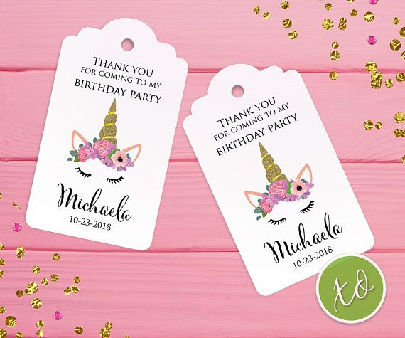 Unicorn Favor Tags Thank You For Coming To My Birthday Gift