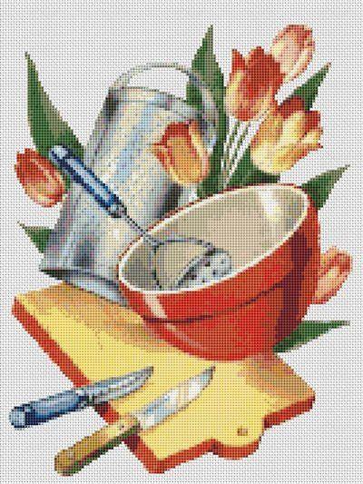 Cross stitch patterns food kitchen 1950 39 s vintage for Cross stitch kitchen designs