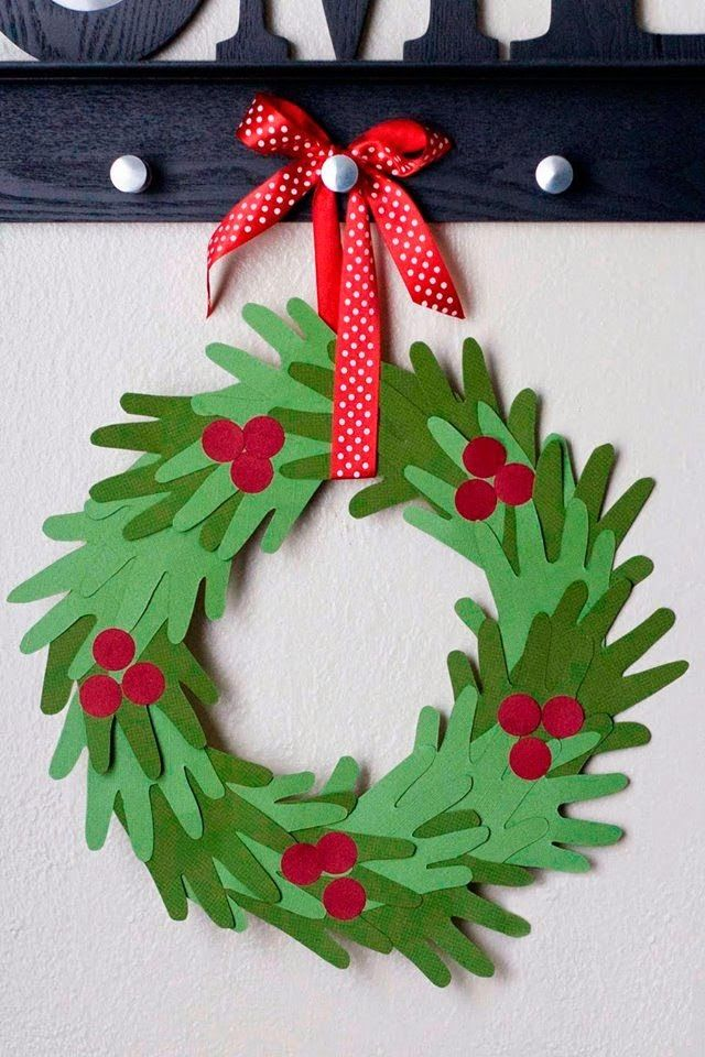 Kids Hand Print Christmas Wreath Tutorial Adults And Kids Crafts