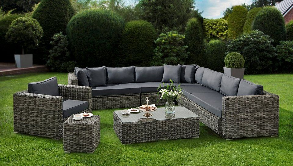 baidani loungeset acelebrationa 25 tlg ecklounge sessel tisch beistellstisch polyrattan ballina exclusive company