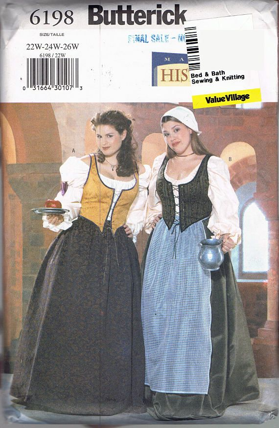 size 22 26 misses plus size bar maid costume pattern renaissance fair dress - Size 26 Halloween Costumes