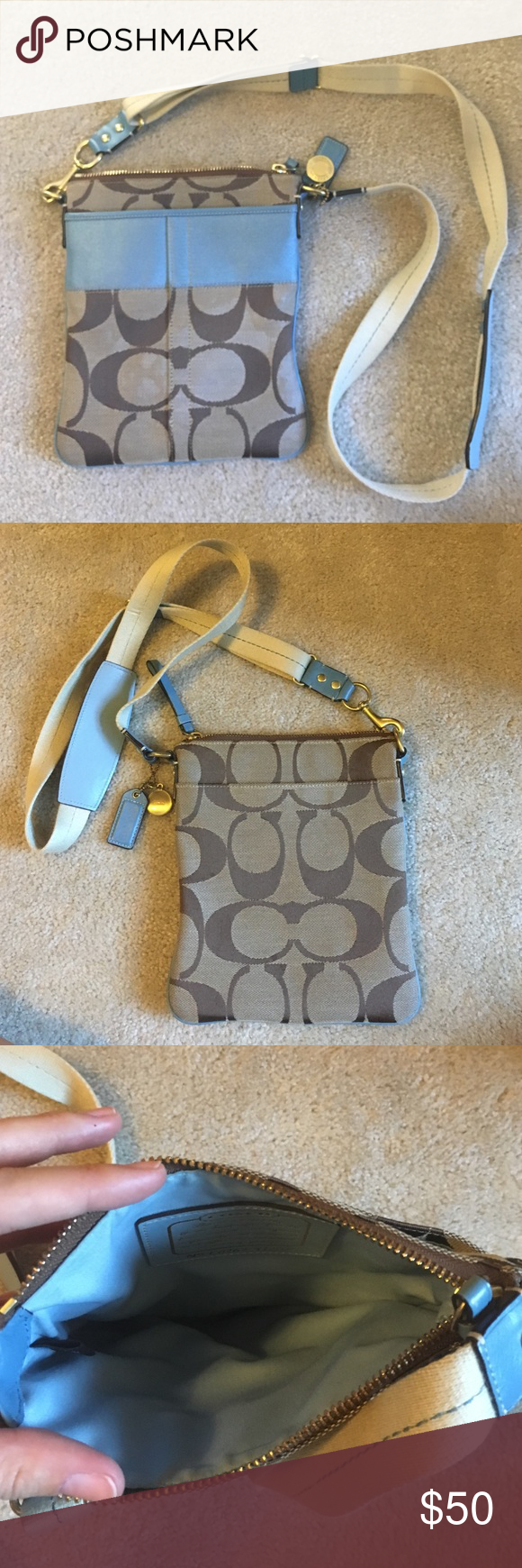 Coach satchel Tan and light blue Coach satchel. Stain on front of satchel shown in picture above. Adjustable strap and light blue interior fabric Coach Bags Satchels