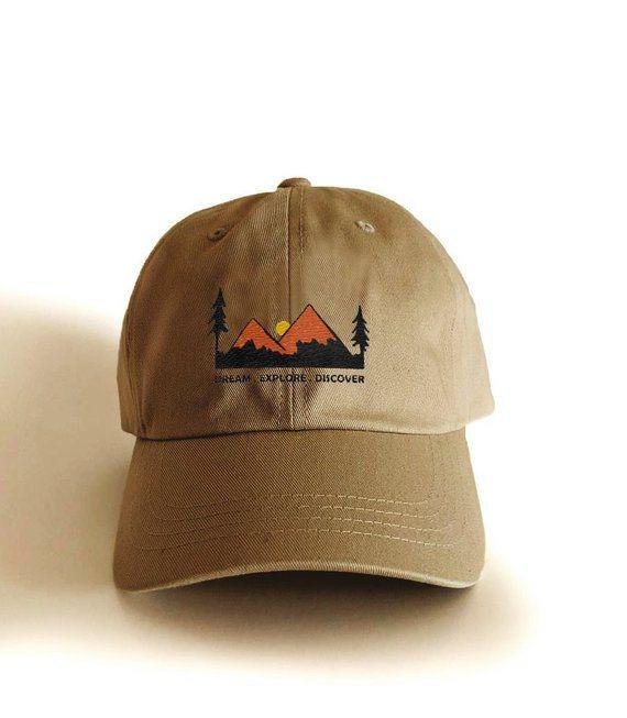 ca7c60df6959a5 Hiking baseball cap, Mountain embroidery hat, baseball hat, embroidered dad  hat, hiking gifts, gift