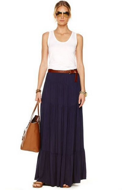 navy blue maxi skirt @Julie Hutchinson - thoughts? (for my blue ...