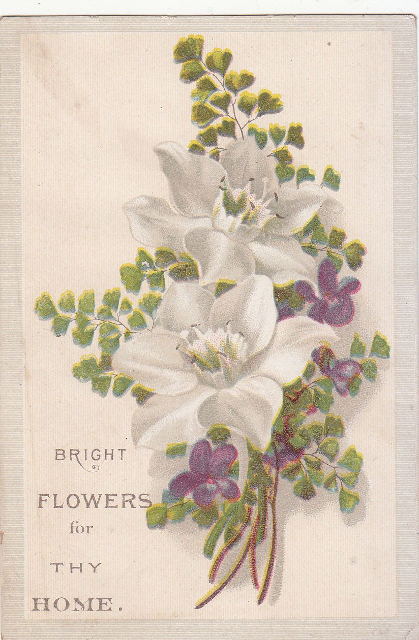 Bright Flowers for Thy Home White Flowers Victorian Religious Card C 1880s | eBay