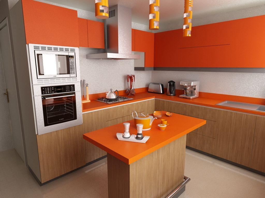Resultado de imagen para cocina naranja pequeña