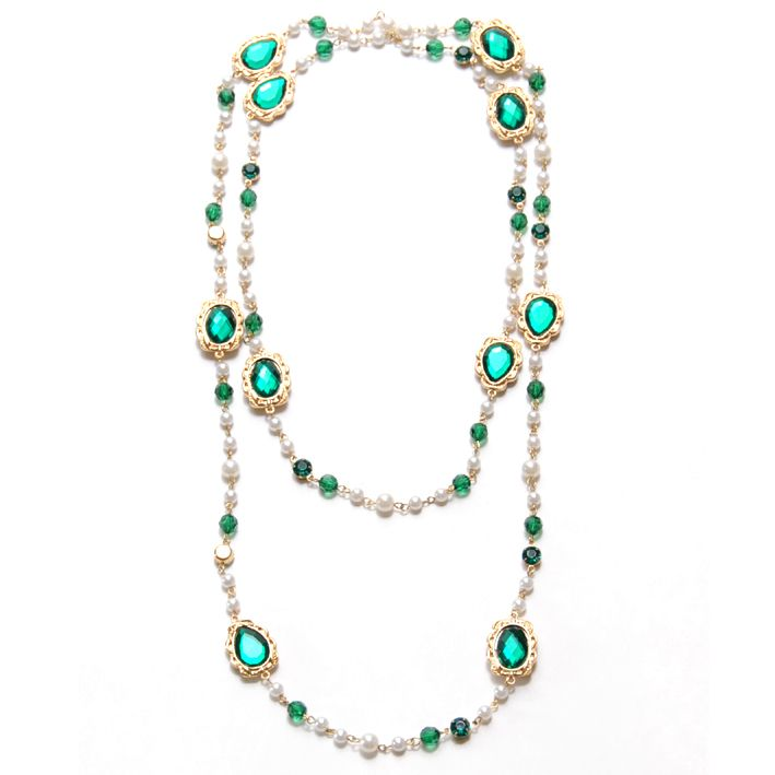 Long  Alterable Pearl Crystal Necklace  Spring and Summer Fashion Style, single or double row alterable necklace
