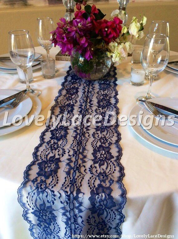 NAVY BLUE Lace/Table Runner/Wedding Decor/ by LovelyLaceDesigns