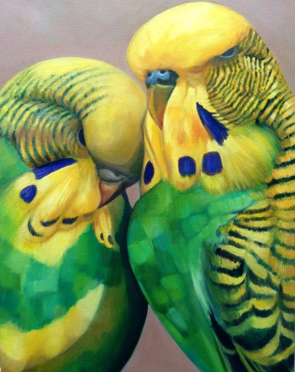 Budgie parakeetgreeting card art decopair green fine art de budgie greeting card art deco pair green budgerigar parakeet fine art in de lempicka style original kristyandbryce Image collections