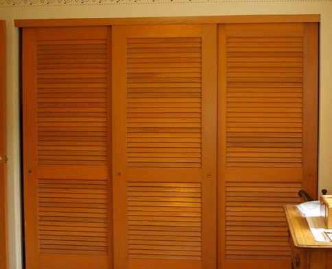 Nod To Shutters Louvered Sliding Closet Door Ideas Closets