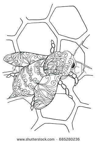 Zentangle Doodle Patterned Fantasy Bee Apis Honeybee On