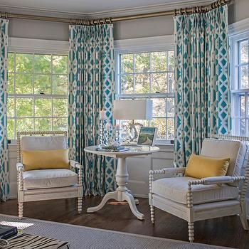 Trellis Curtains Contemporary Bedroom Beach Glass Interior Designs Turquoise Curtains Interior Design House Of Turquoise