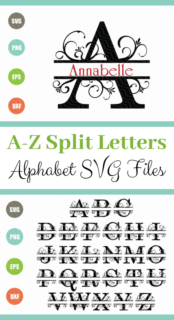 I love these split letter alphabet SVG files! They would be great for vinyl decal projects using Cricut or Silhouette machines. Use on shirts, hats, tumblers, notebooks, mugs, home decor, cards and even back to school items for kids! #ad #svg #svgcuts #cutlife #cutfile #cricutmade #cricutexplore #silhouette #cameo #vinyl #decals #alphabet #split #diyhomedecor #diycrafts #homedecorusingcricut