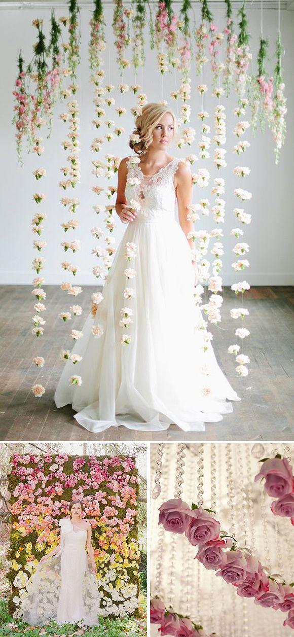 Cortinas de flores en bodas | Cortina de flores, Flores en y Cortinas