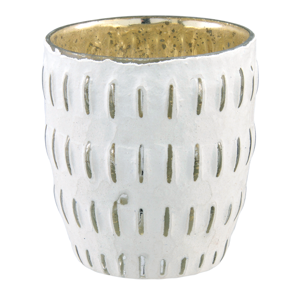Glass Chalk White Textured Votive