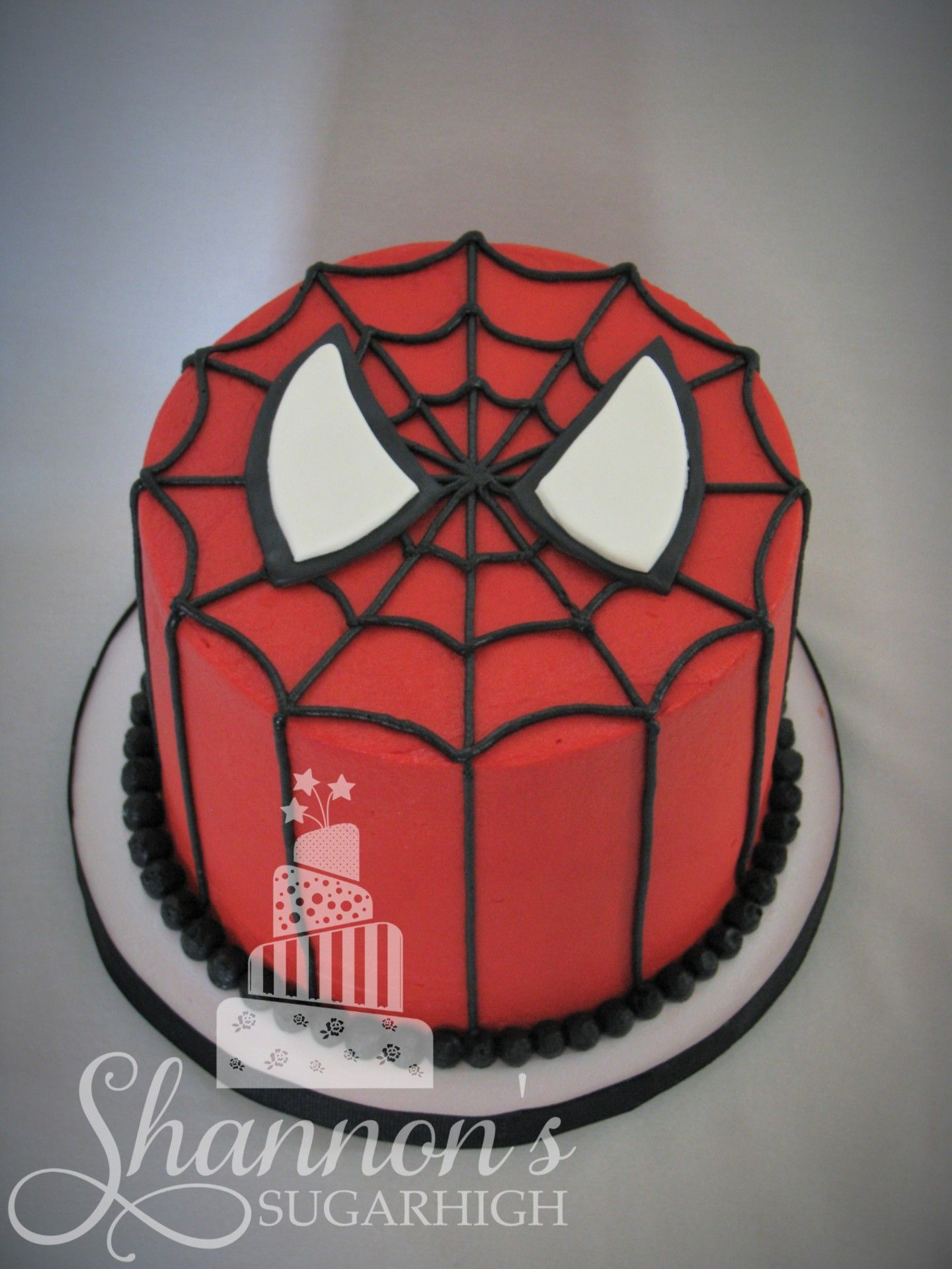 Spiderman Face Buttercream Cake Frosted In Red Vanilla Flavour