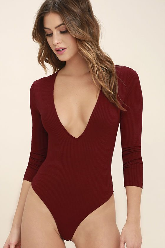 fc9e1f525 Give a glance at the Take a Look Dark Red Long Sleeve Bodysuit