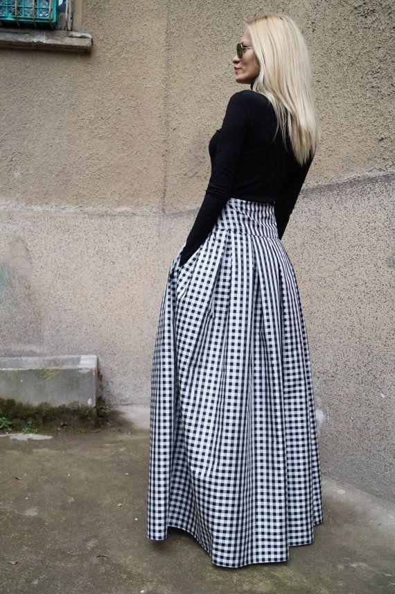 e984c2c4f Black White Long Maxi Skirt/Flat Skirt/High Low Waist Skirt/Floor ...