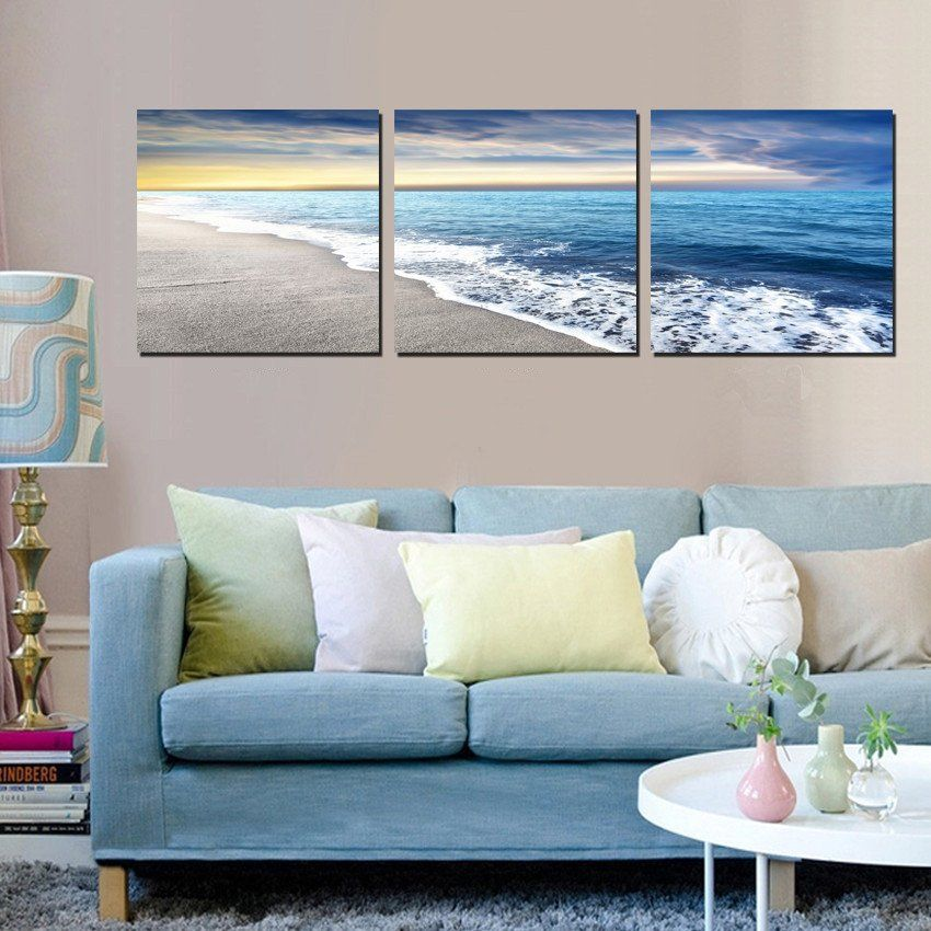 3 Panels Wall Art Pictures Beach Sandy Sea Wave Seascape Oil Painting On Canv Arte Para Sala De Estar Sala De Estar Decoracao Moderna Pinturas De Praia Em Tela