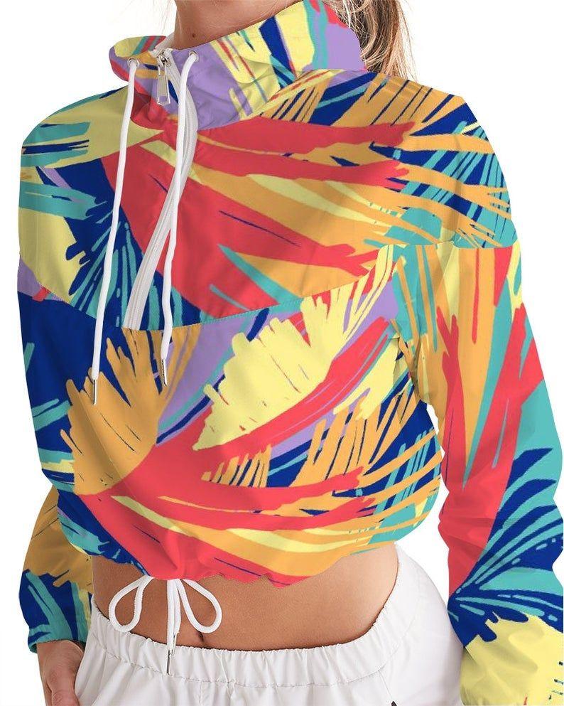 Women/'s Cropped Windbreaker Multicolor Yunga I