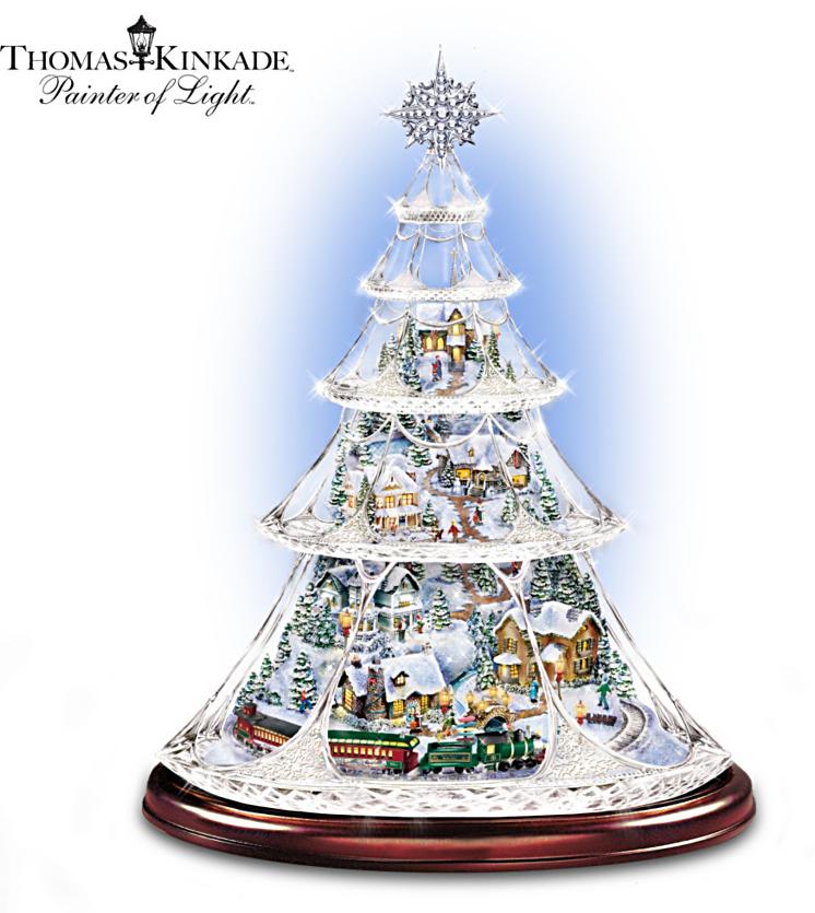 thomas kinkade animated crystal tabletop christmas tree. Black Bedroom Furniture Sets. Home Design Ideas