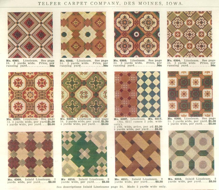 Linoleum Designs Offered In C. 1900 Catalog: Telferu0027s Good Carpets And Rugs  By Telfer