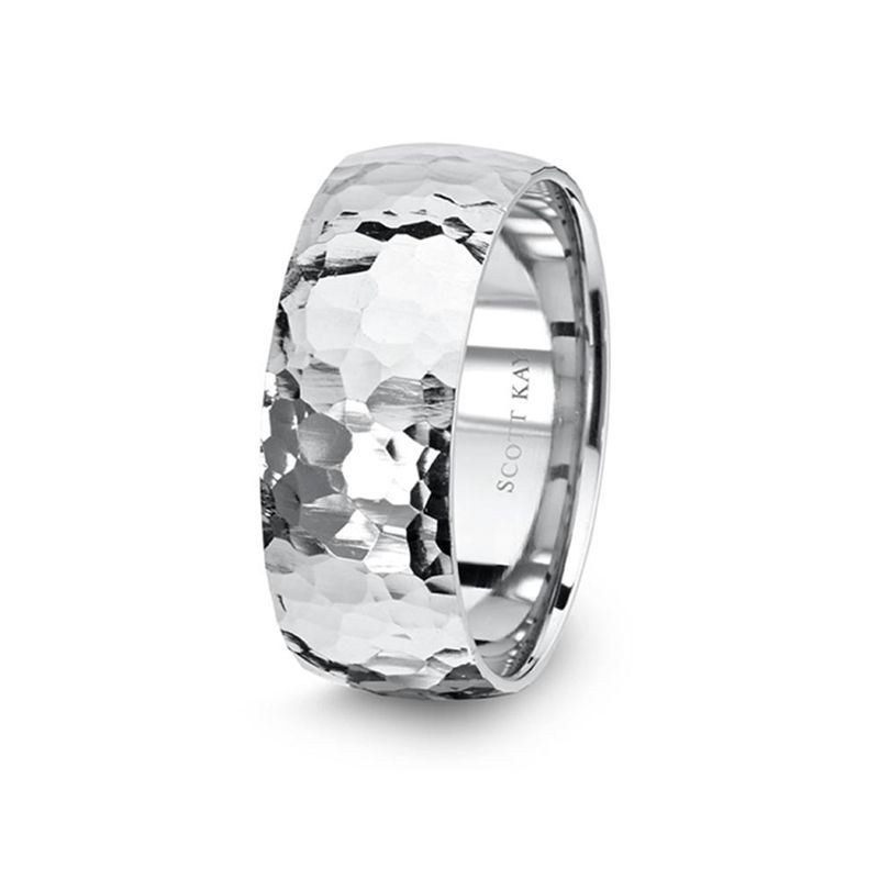 14kt White Gold Dome Hammered Mens Wedding Band From The