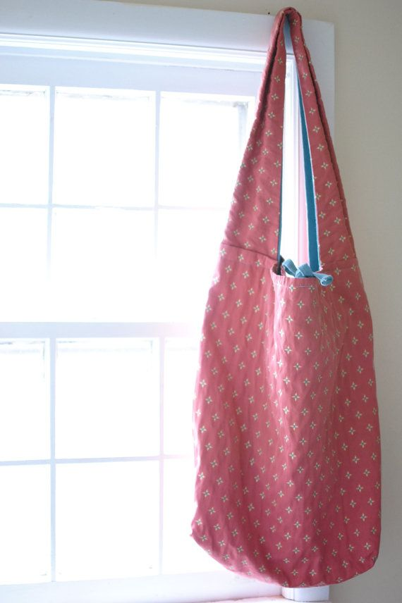 boho bag // large, pink with yellow and blue starlets