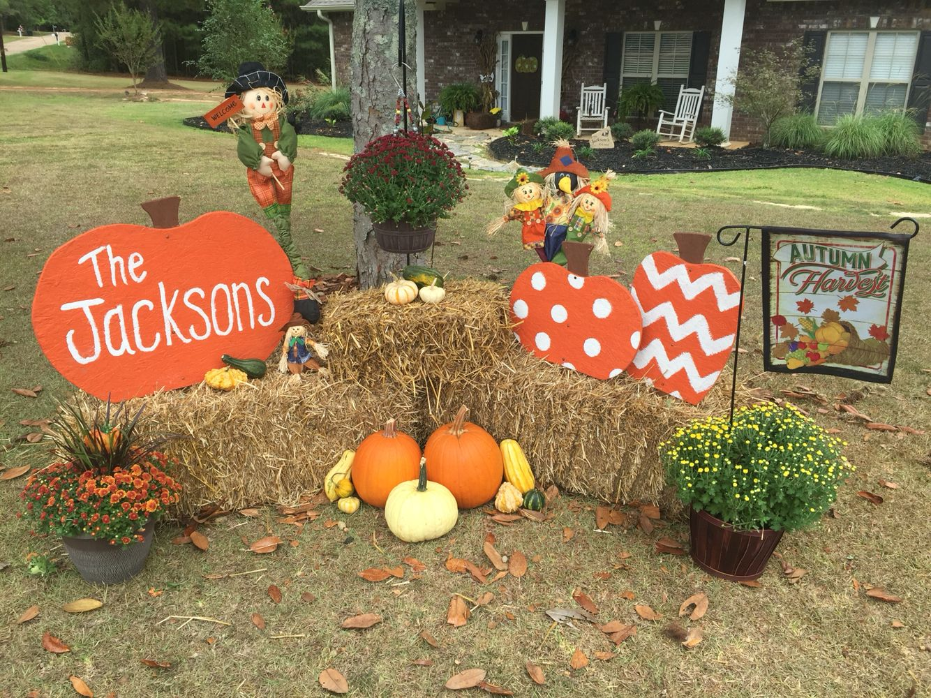 Doors pleasant fall decorating ideas for outside pinterest autumn - Set Up Beside Porch To The Right Make Pumpkins With Plywood Buy Plant