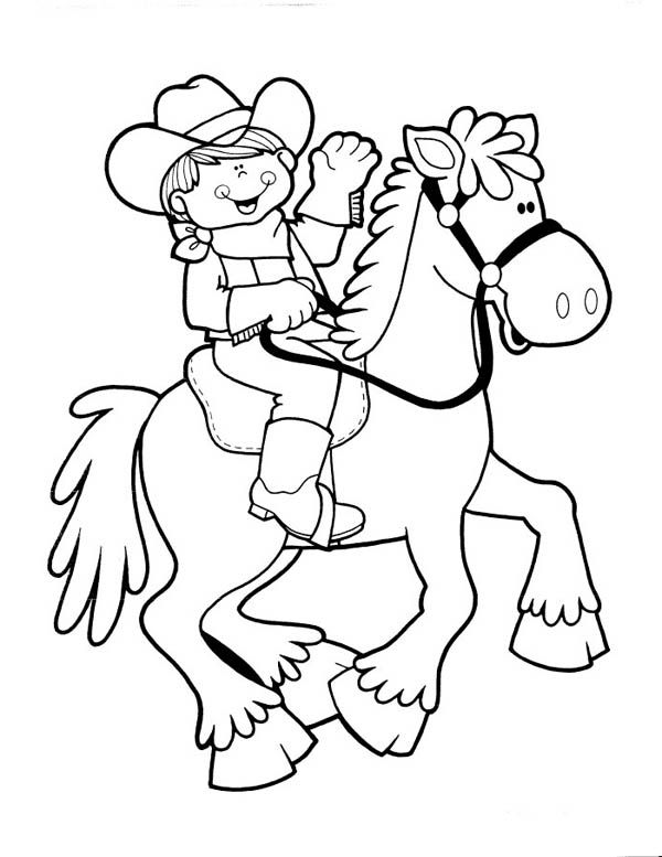 Cute Cowgirl Riding Picture Coloring Page Kids Play Color Preschool Coloring Pages Coloring Pages Horse Coloring Pages