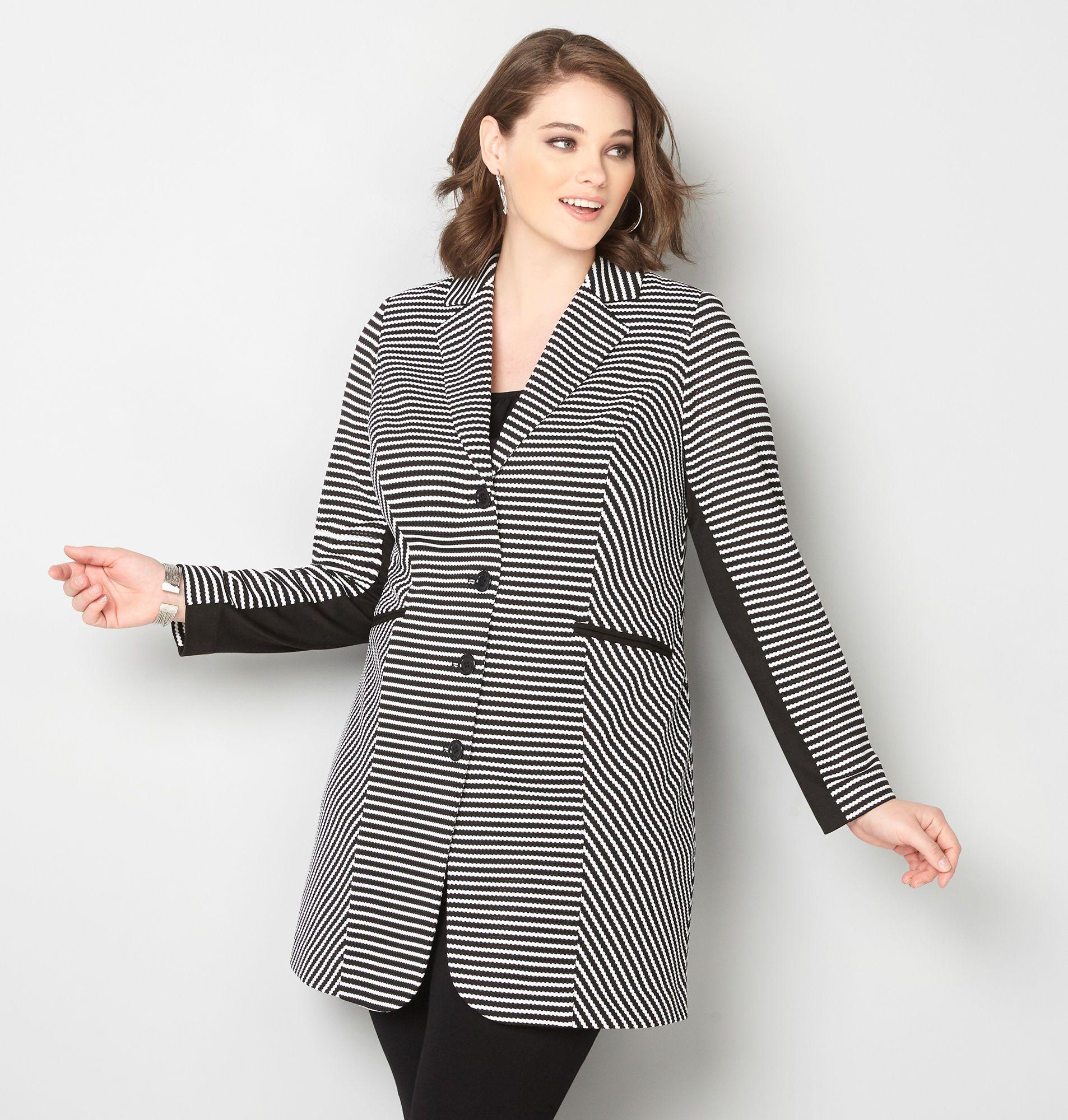 Textured Stripe Long Blazer - Avenue