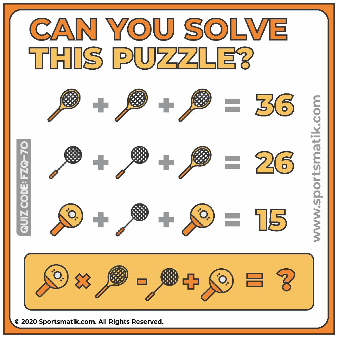 Can you solve this puzzle? in 2020 Sports quiz, Math