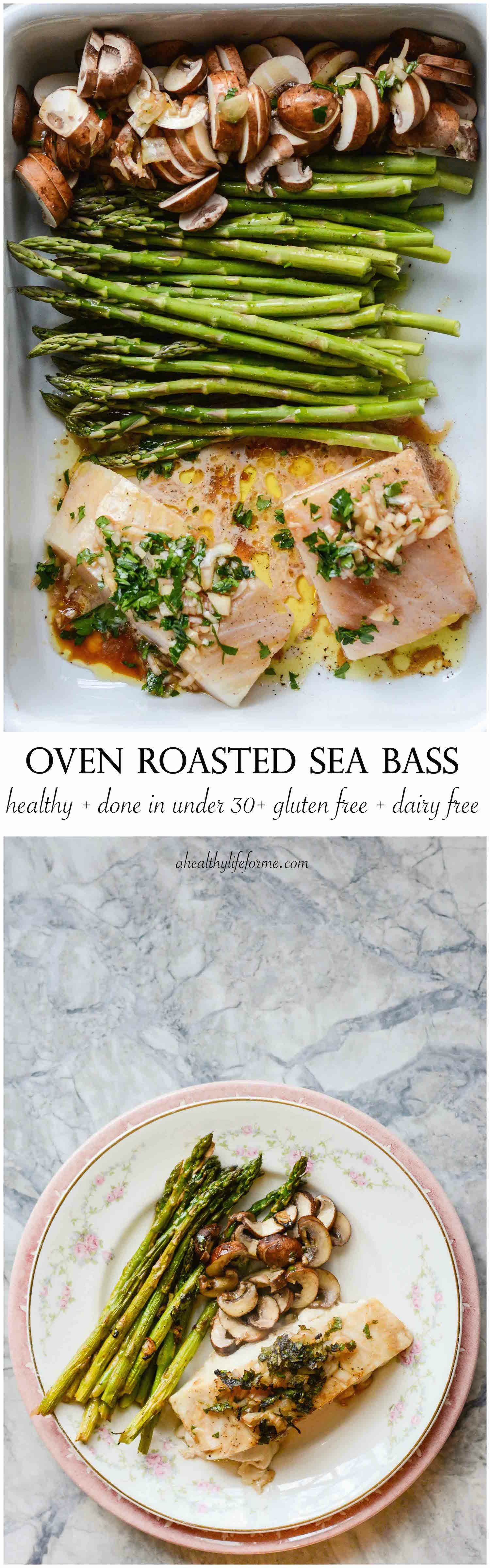 Oven roasted sea bass recipe dairy healthy dinners for Healthy fish dinner