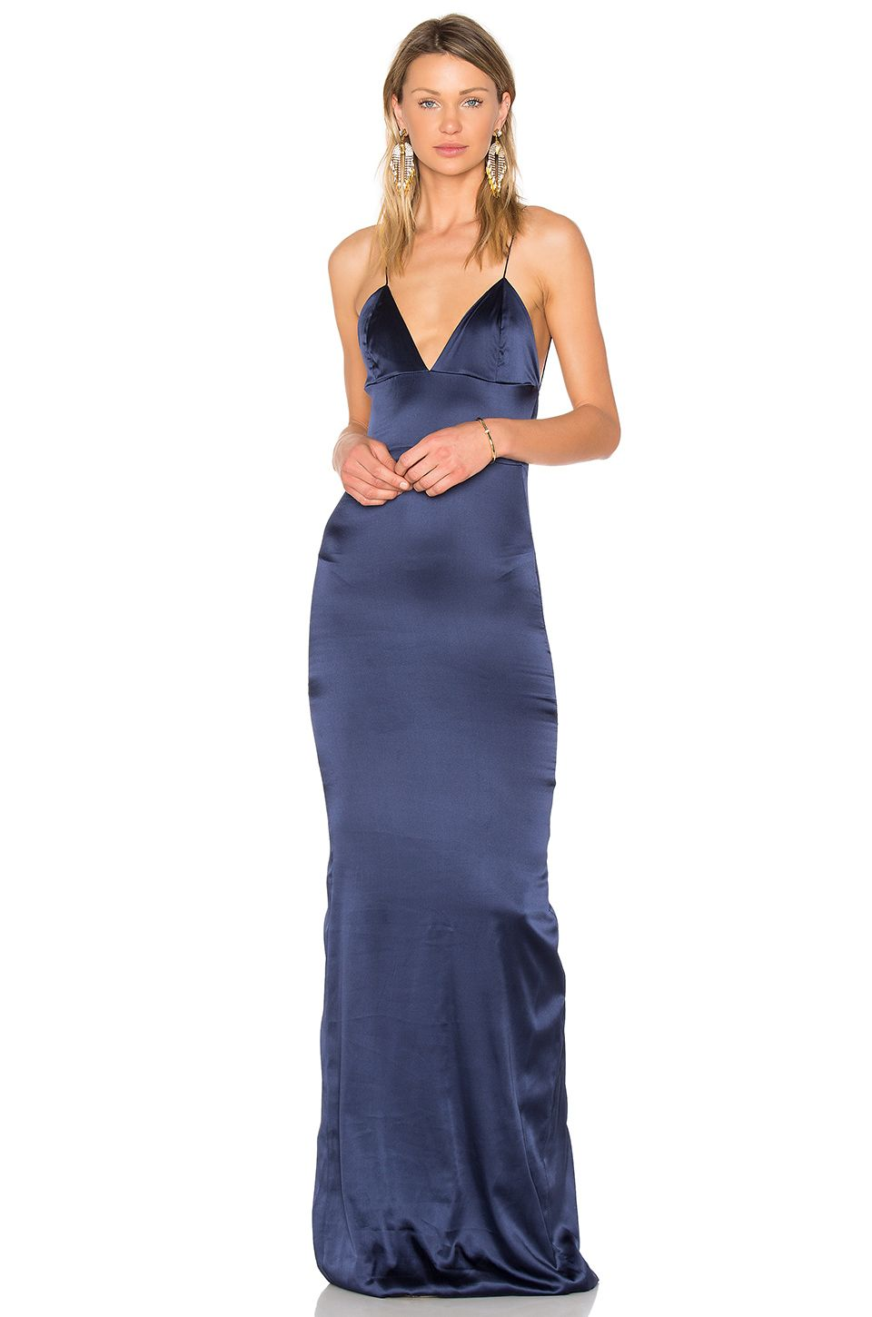4737731948b Gemeli Power Sachi Lu Gown in Navy Silk