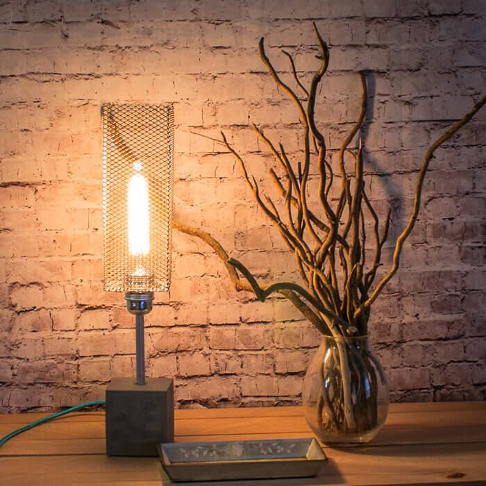 Industrial Concrete Desk Lamp Featuring A Concrete Base And Copper Pipe U0026  Shade. The Lamp Comes With An Edison Lightbulb Which Gives It An Industrial  Look.
