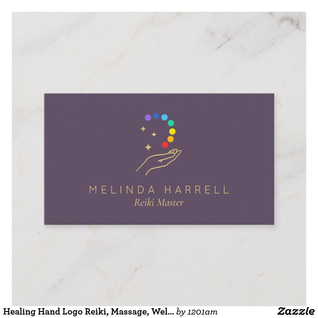 Healing Hand Logo Reiki Massage Wellness Purple Business Card Zazzle Com Hand Logo Business Card Design Simple Healing Hands