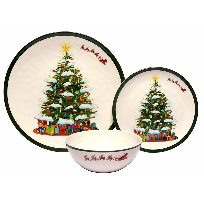 Christmas Tree 36 Piece Dinnerware Set Service For 12 In 2020 Christmas Dinnerware Christmas Dinnerware Sets Christmas Tree Collection
